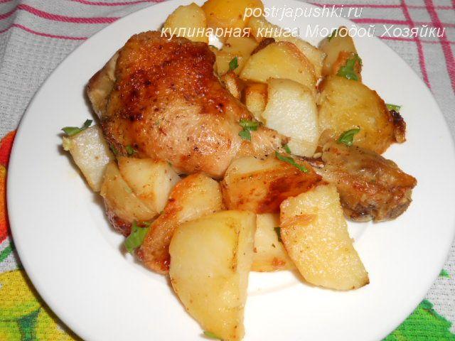 рецепт курицы на сковороде с картошкой