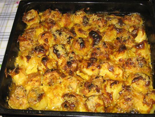 картошка с грибами с мясом в духовке рецепт